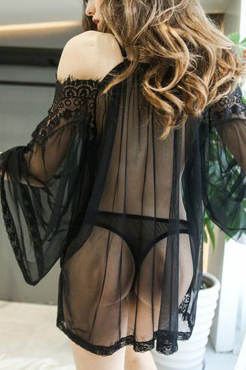 Sexy Lace Off-Shoulder Perspective Nightdress