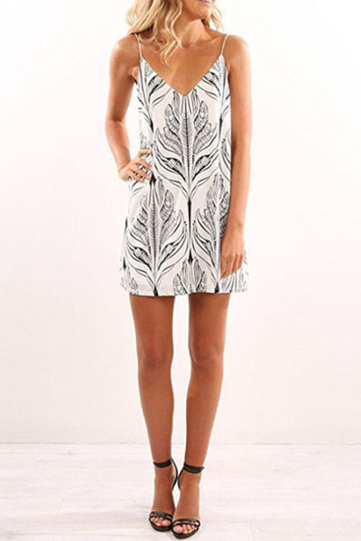 Spaghetti Strap  Printed  Sleeveless Casual Dresses