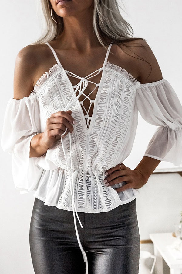 Spaghetti Strap  Lace Up  Plain  Bell Sleeve  Blouses