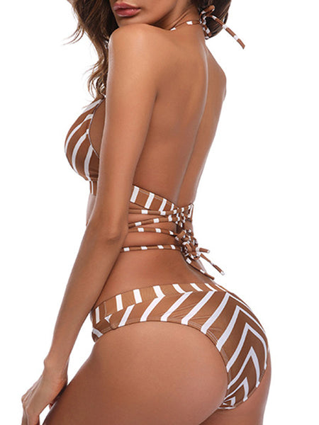 Lightweight  Striped  Low-Rise Bikini