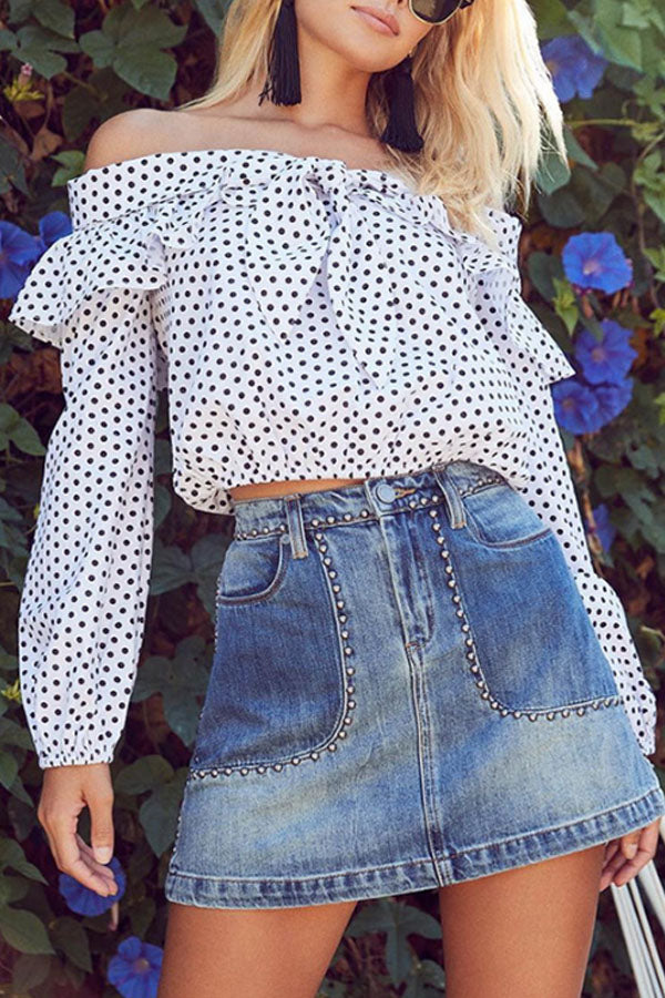 Off Shoulder  Bowknot  Dot  Blouses
