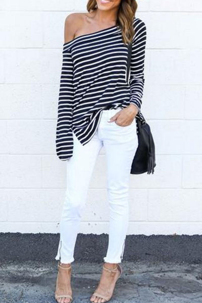 Off Shoulder  Striped  Bell Sleeve T-Shirts