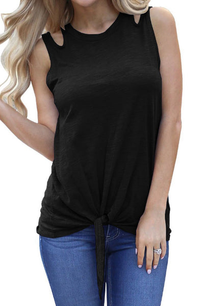 Round Neck  Hollow Out Plain  Vests