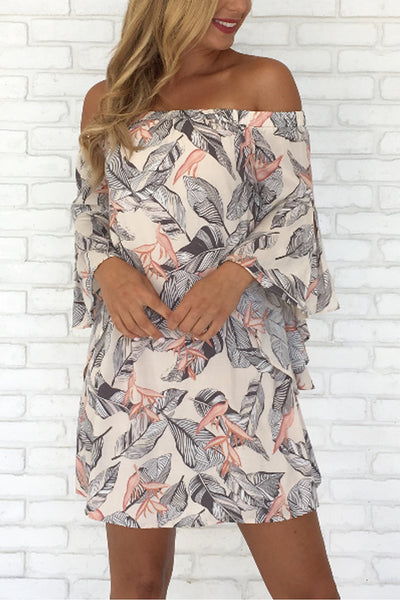 Open Shoulder  Backless  Cascading Ruffles  Floral Printed  Cape Sleeve  Half Sleeve Casual Dresses