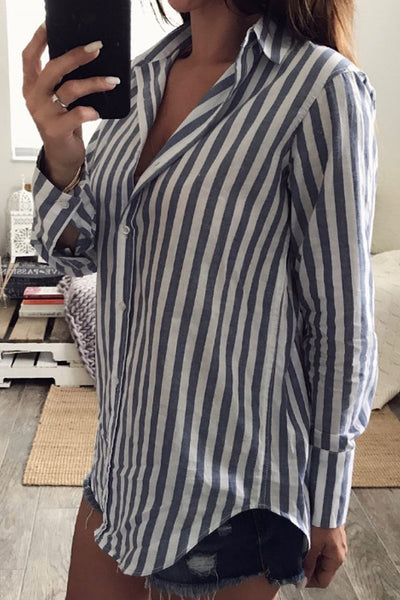 Turn Down Collar  Single Breasted  Striped  Blouses