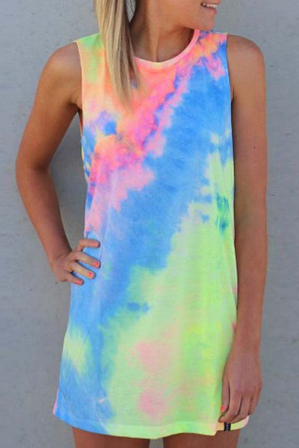 Round Neck  Tie Dye  Sleeveless Casual Dresses