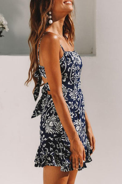 Spaghetti Strap  Backless Bowknot  Floral Printed  Sleeveless Skater Dress