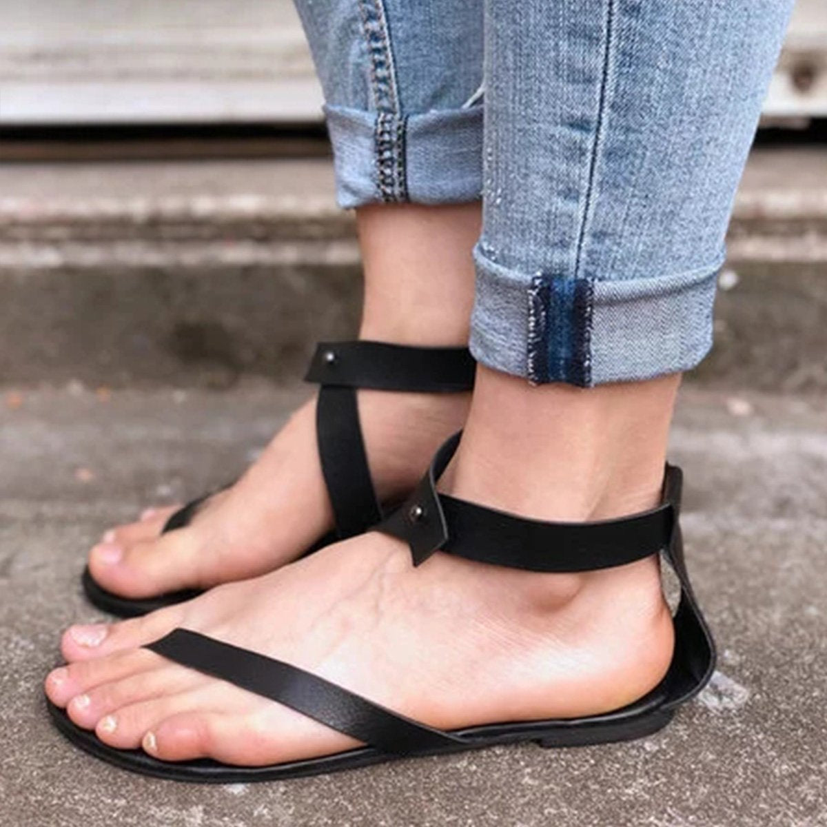 3eac75f53a5 Black Sandals Flip Flops Ankle Wrap Shoes – CHICDB