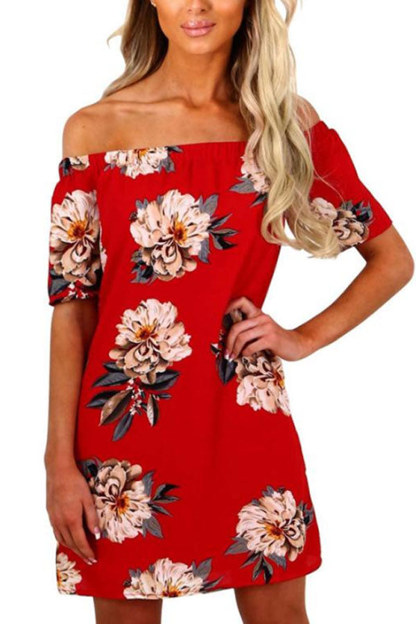 Off Shoulder  Floral Printed  Short Sleeve Casual Dress