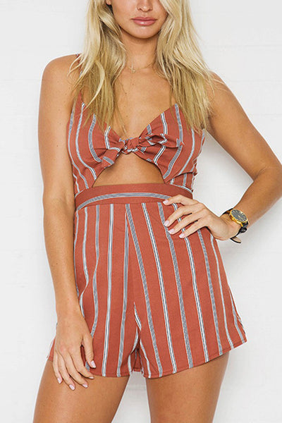 Striped Knot Front Spaghetti Strap Playsuit Rompers Jumpsuits