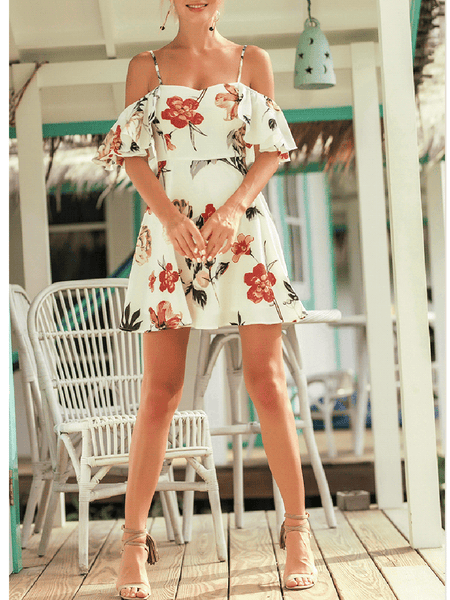 Open Shoulder Flounce Floral Printed Mini Skater Dress
