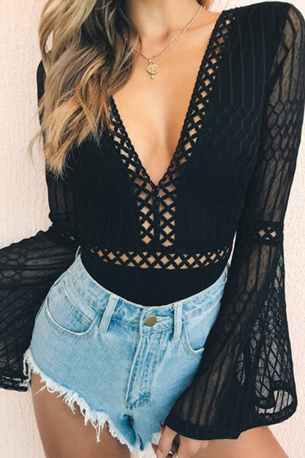 Deep V Neck  Backless See Through  Plain  Bell Sleeve Bodysuits