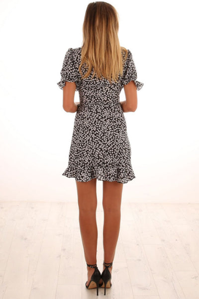 Deep V Neck  Floral Printed  Short Sleeve Skater Dresses