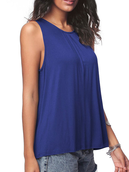 Summer  Cotton  Women  Round Neck  Plain Sleeveless T-Shirts