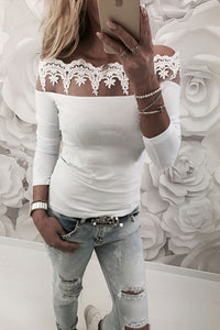 Off Shoulder  Cutout  Casusl T-Shirts