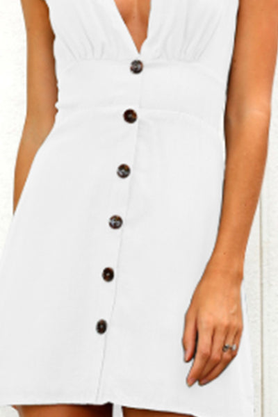 Deep V Neck  Decorative Buttons  Decorative Buttons  Plain Skater Dress