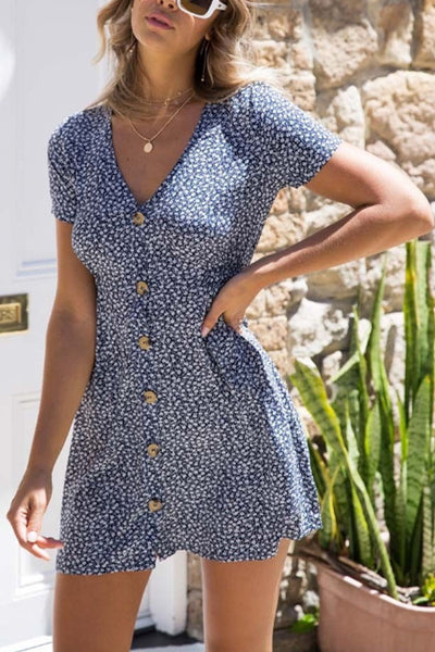 V Neck  Single Breasted  Dot  Short Sleeve Casual Dresses