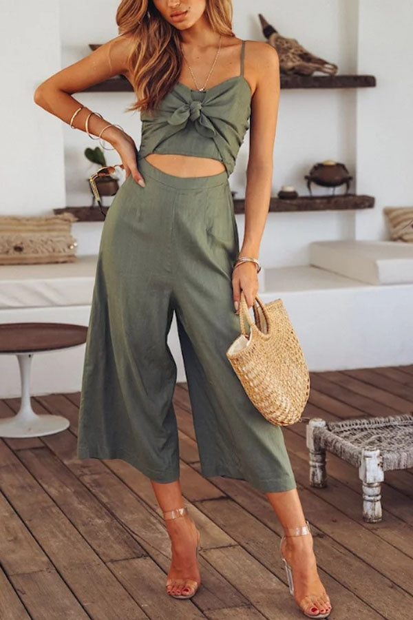 Spaghetti Strap  Bowknot  Exposed Navel  Plain  Sleeveless Jumpsuits