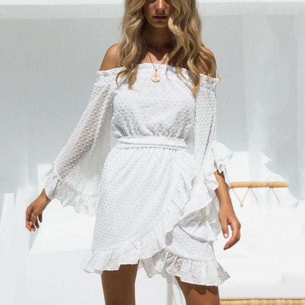 Sexy Flounce Off Shoulder Long Sleeves Casual Dress