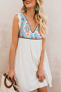 V Neck  Sleeveless Casual Dresses
