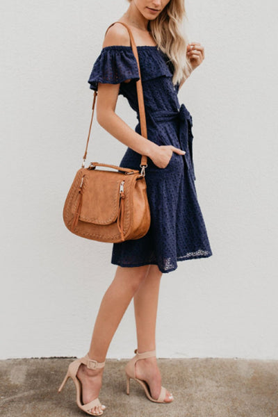 Off Shoulder  Single Breasted  Belt  Plain  Short Sleeve Skater Dresses