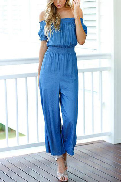 Blue Short Sleevs Off Shoulder Wide Leg Jumpsuit