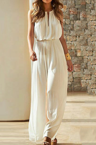 Round Neck  Loose Fitting  Plain  Sleeveless Jumpsuits