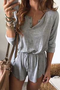 V Neck  Belt  Plain  Long Sleeve  Playsuits