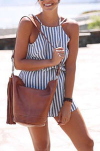Crew Neck  Back Hole  Striped  Sleeveless  Playsuits