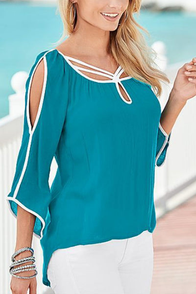 Round Neck  Asymmetric Hem  Hollow Out Plain  Blouses
