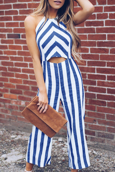 Striped Sleeveless Jumpsuits