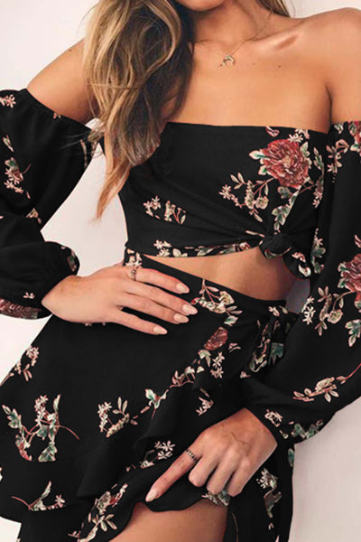 Off Shoulder  Printed Skater Dresses