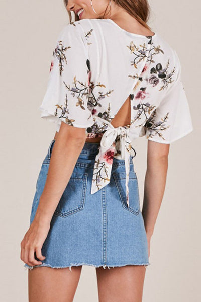 Deep V Neck  Backless  Exposed Navel  Floral  Blouses