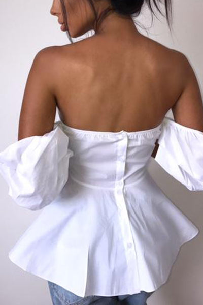 Strapless  Backless  Cascading Ruffles  Plain  Puff Sleeve Blouses