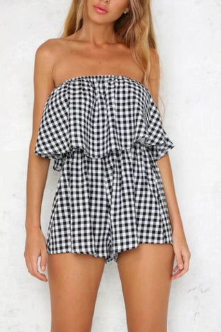 Strapless  Backless  Checkered  Sleeveless  Playsuits