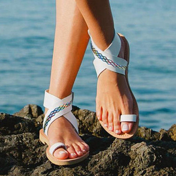 2ed26322914 ... Bohemian Flat Ankle Strap Peep Toe Beach Casual Gladiator Sandals ...
