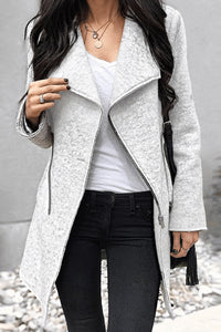 Fold  Over Collar  Plain Jackets