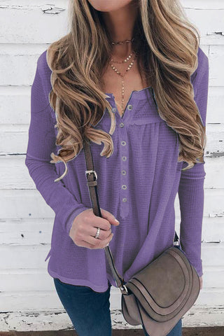 Casual Pure Color Stand Up Collar Button Down Long Sleeve Knit Blouse