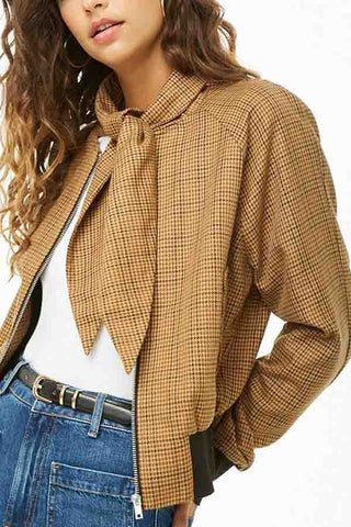Bow Collar  Zipper  Checkered Jackets