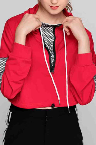 High Neck  Drawstring  Patchwork Jackets