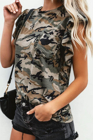 Casual Camouflage Chest Pocket Loose Short   Sleeve Blouse T-Shirts