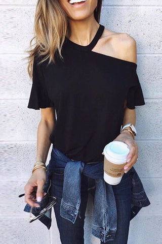 Sexy One Shoulder Plain Loose Blouse