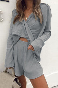V Neck  Asymmetric Hem  Plain Two-Piece Outfits