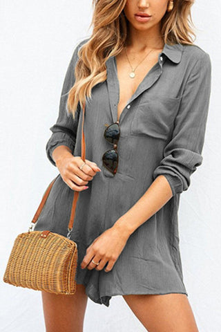 Button Down Collar  Plain  Long Sleeve  Playsuits