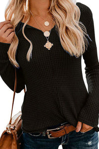 V Neck Long Sleeve Plain Casual T-Shirts