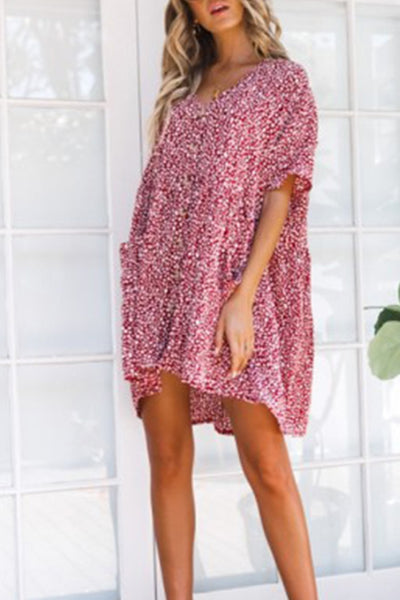 V Neck  Single Breasted  Print  Short Sleeve Casual Dresses