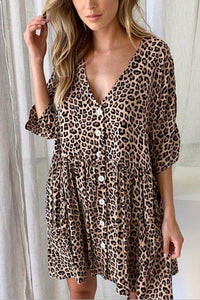 V-Neck Pocket Print Dress