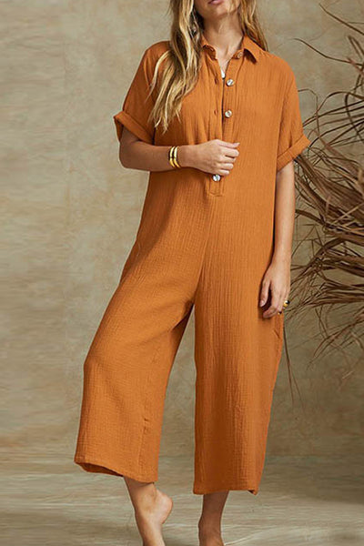 Button Down Collar  Single Breasted  Plain  Short Sleeve Jumpsuits