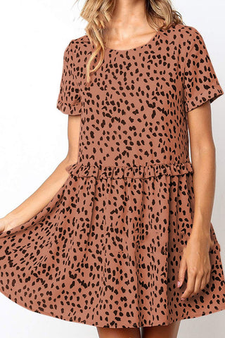 Casual Round Neck Printed Colour Short Sleeve Dresses