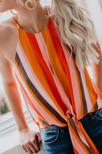 Fashion Chiffon Stripe Printed T Shirt